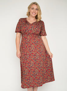 J by Jolie Moi Flare Sleeve Maxi Dress, Red Multi