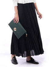 Load image into Gallery viewer, Pleated Crepe Maxi Skirt, Black