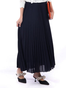 Pleated Crepe Maxi Skirt, Navy