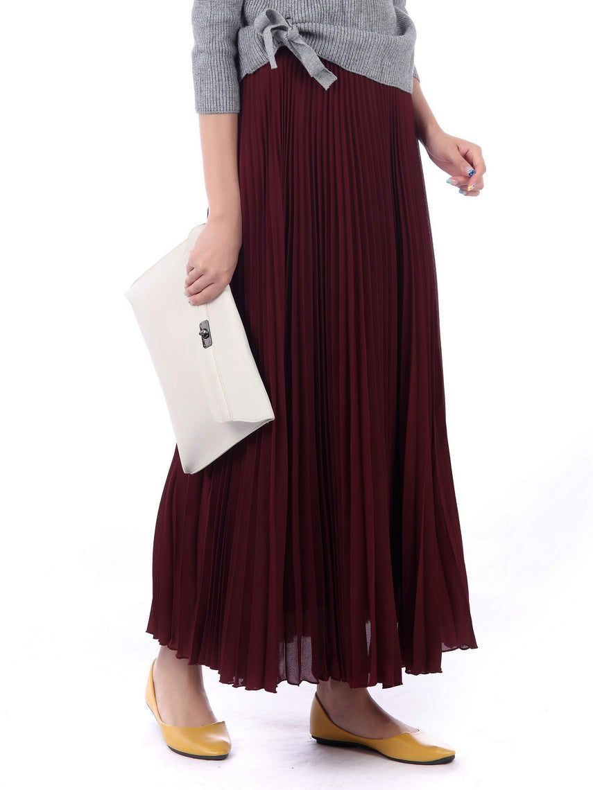 Pleated Crepe Maxi Skirt, Burgundy