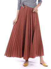 Load image into Gallery viewer, Pleated Crepe Maxi Skirt, Rusty Red