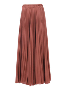 Pleated Crepe Maxi Skirt, Rusty Red