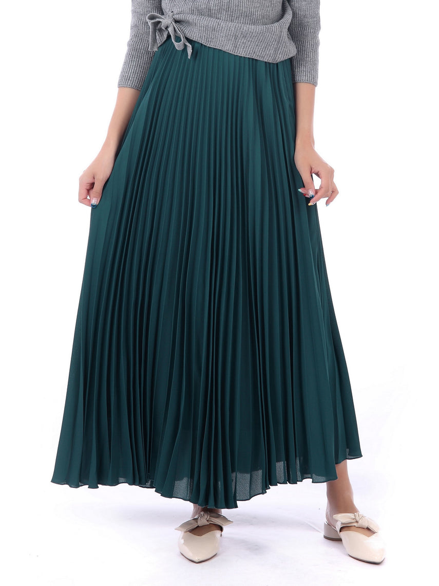 Pleated Crepe Maxi Skirt, Teal