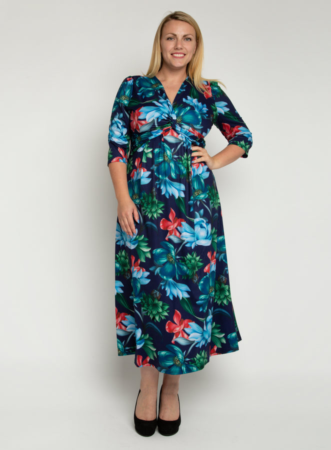 J by Jolie Moi Twist Front Maxi Dress, Floral Multi