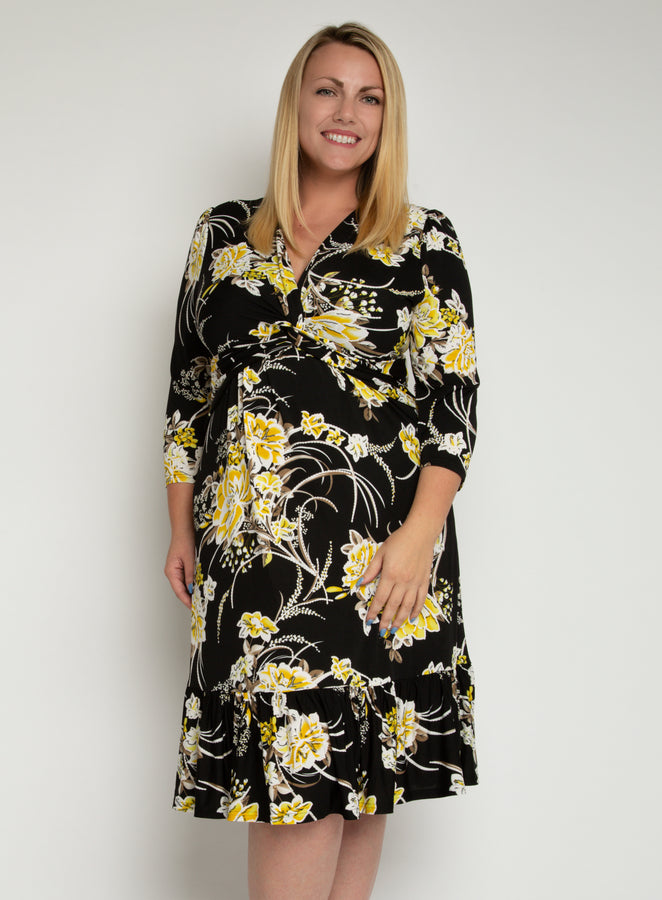 J by Jolie Moi Print Flounce Hem Midi Dress, Yellow Floral