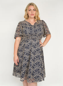 J by Jolie Moi Flare Sleeve Belted Lace Dress, Navy Multi