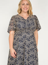 Load image into Gallery viewer, J by Jolie Moi Flare Sleeve Belted Lace Dress, Navy Multi