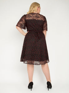 J by Jolie Moi Flare Sleeve Belted Lace Dress, Red Multi