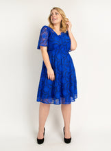 Load image into Gallery viewer, Plus Size Flare Sleeve Belted Lace Dress, Royal Blue