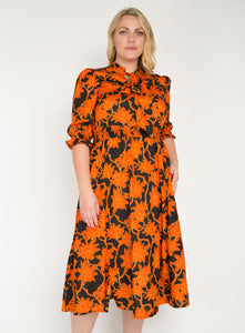 J by Jolie Moi Tie Neck Woven Midi Dress, Orange Multi