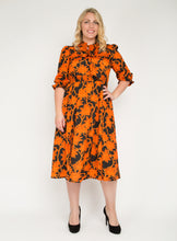 Load image into Gallery viewer, J by Jolie Moi Tie Neck Woven Midi Dress, Orange Multi