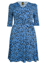 Load image into Gallery viewer, J by Jolie Moi Revers Collar Midi Dress, Blue Leopard