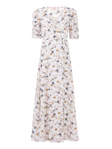 Puffy Sleeved Maxi Dress, Cream Floral