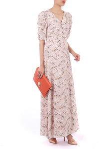 Puffy Sleeved Maxi Dress, Pink Floral