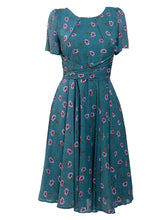 Load image into Gallery viewer, Floral Print Chiffon Tea Dress, Teal Floral