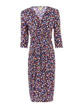 Load image into Gallery viewer, 3/4 Sleeve Crossover Print Jersey Dress