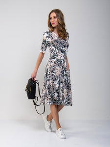 Wrap Front Viscose Dress ,Blush Floral