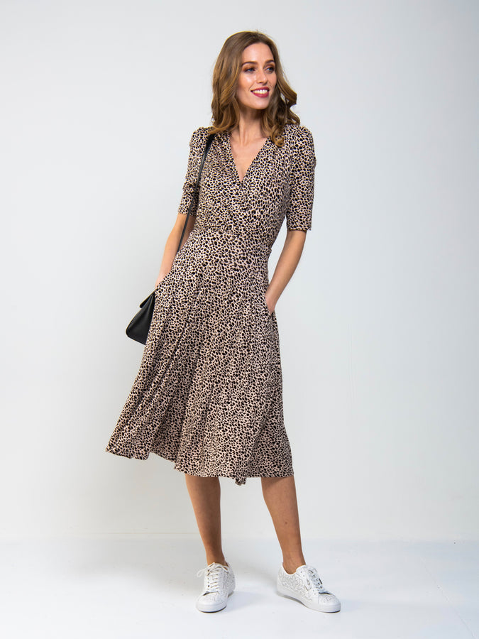 Wrap Front Viscose Dress, Neutral Animal