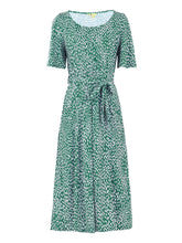 Load image into Gallery viewer, Belted Midi Jersey Dress, Green Animal