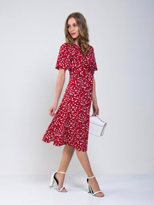 Twist Front Midi Jersey Dress, Red Animal