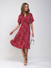 Load image into Gallery viewer, Twist Front Midi Jersey Dress, Red Animal