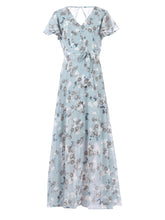 Load image into Gallery viewer, Flare Sleeve Chiffon Maxi Dress, Grey Floral