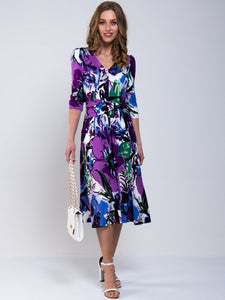 Twist Waist Sleeved Jersey Dress , Purple Floral