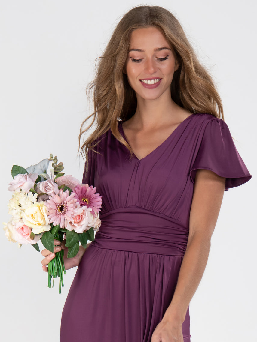 Cap Sleeve Jersey Maxi Dress , Dark Purple