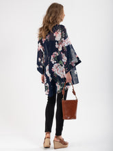 Load image into Gallery viewer, Floral Chiffon Kimono Jacket , Navy Floral
