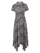 Load image into Gallery viewer, V Neck Hanky Maxi Dress, Navy Animal