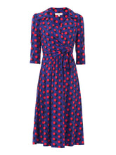 Load image into Gallery viewer, Print Wrap Shirt Jersey Dress , Royal Multi