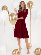 Load image into Gallery viewer, Jolie Moi Velvet Twist Front Midi Dress, Red