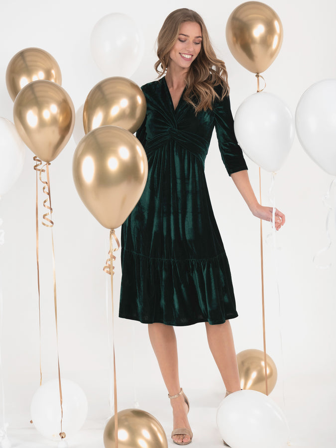 Jolie Moi Velvet Twist Front Midi Dress, Dark Green