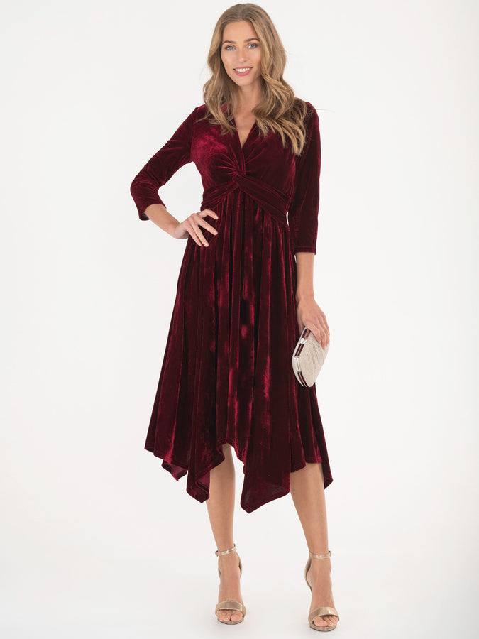 Jolie Moi Hanky Hem Velvet Midi Dress, Burgundy