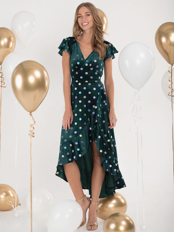 Jolie Moi Frill Velvet Spot Dress, Green/Multi
