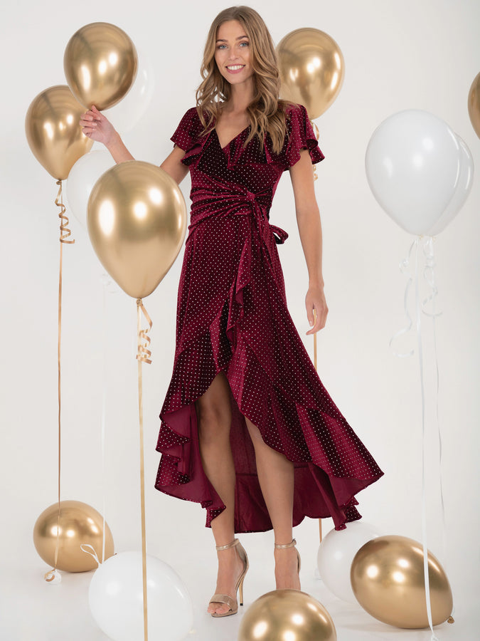 Jolie Moi Metallic Spot Print Velvet Dress, Burgundy