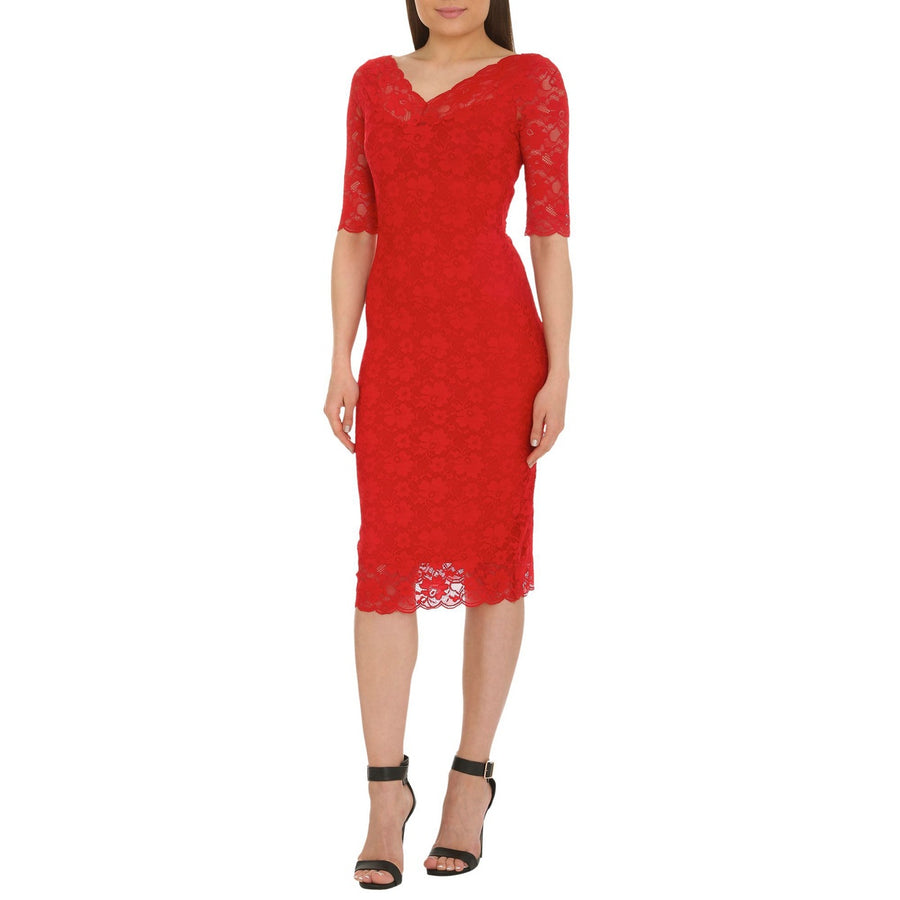 Scalloped Lace Dress, Red