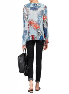 Printed Ruffle Chiffon Blouse, Blue Multi