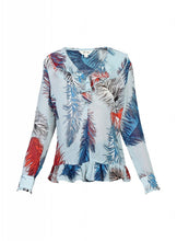 Load image into Gallery viewer, Printed Ruffle Chiffon Blouse, Blue Multi