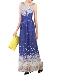 Jolie Moi Print Chiffon Dress, Royal Blue