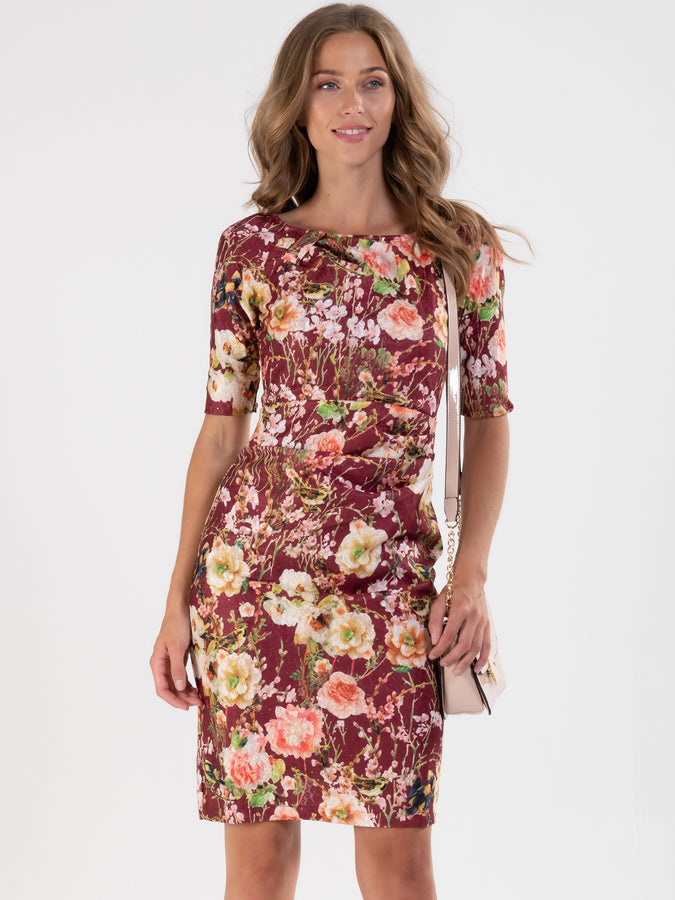 Floral Lace Bonded Shift Dress