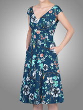 Load image into Gallery viewer, Sweetheart Neckline Fit And Flare Dress, Teal floral