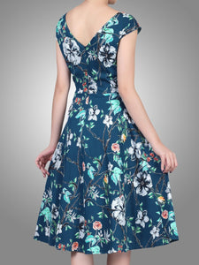 Sweetheart Neckline Fit And Flare Dress, Teal floral