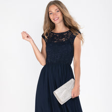 Load image into Gallery viewer, Lace Bodice Maxi Dress , Grey, Navy