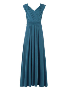 Jolie Moi Plunge V Neck Draped Maxi Bridesmaid Dress-Jolie Moi