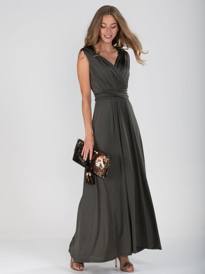 V Neck Draped Maxi Dress