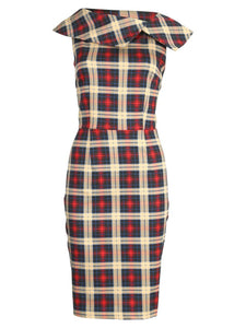 Retro Print Bardot Neck Shift Dress