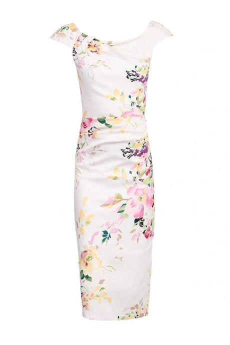 Jolie Moi Floral Print RUCHED Dress, PINK FL