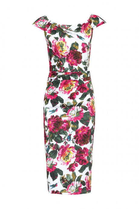 Floral Print wiggle Dress, White Floral