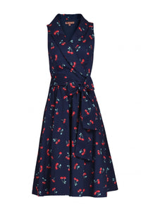 Jolie Moi Retro Print Shawl Collar Dress